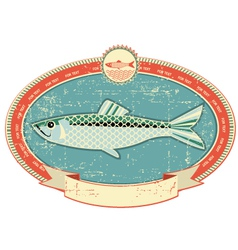 fish label background vector image