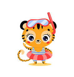 flat cute cartoon summer tiger vector image