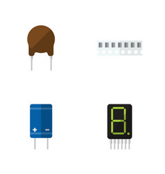 flat icon electronics set of transistor display vector image