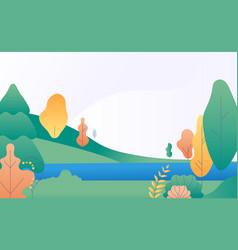 flat minimal landscape autumn nature scene vector image