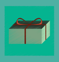 Flat shading style icon gift box vector