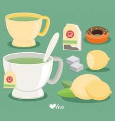 Flat tea set cup of tea lemon sugar leaf vector