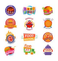Food festival logo festive street fastfood vector