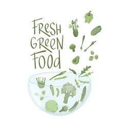 Fresh green food sign with vegetables boho colors vector