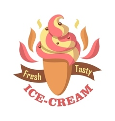 Fresh tasty ice cream logo isolated on white vector