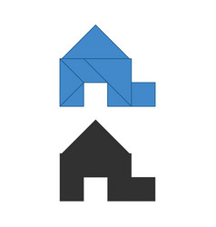 Garage house tangram traditional chinese vector