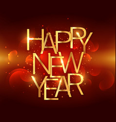Golden happy new year text on red background vector