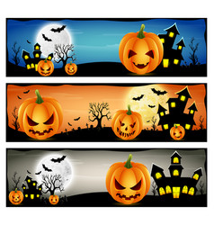 happy halloween banner set with scary pumpkins vector image