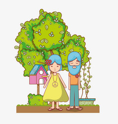 hippies couple at garden vector image