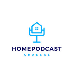 home podcast logo icon for house mortgage blog vector image
