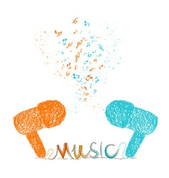 i love music doodle art colorful vector image
