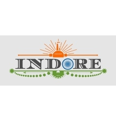 Indore city name with flag colors styled letter O vector image