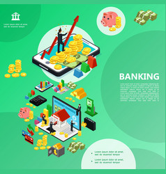 Isometric internet banking template vector
