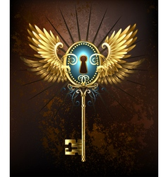 Key with Golden Wings vector