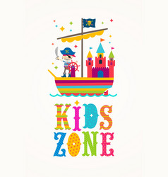 Kids zone sign - cartoon multicolored vector