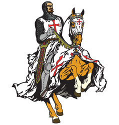 Knight of templar order on a horse vector