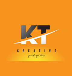 kt k t letter modern logo design with yellow vector image