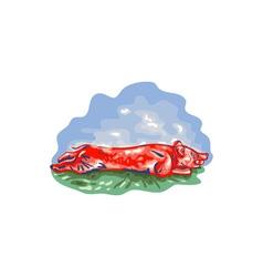Lechon Roast Pig WPA vector image