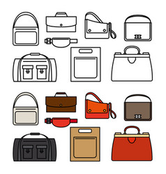 line and flat bags icons vector image