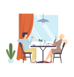 man and woman are drinking tea in a cafe vector image