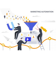 Marketing automation and lead generation flat vector