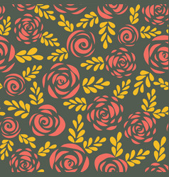 modern abstract flat roses seamless border vector image