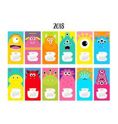 Monster vertical monthly calendar 2018 cute funny vector