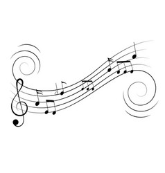 Music notes treble clef flow on music staff vector