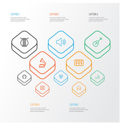 Music outline icons set collection of audio level vector