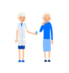 Nurse and patient elderly woman measures the body vector