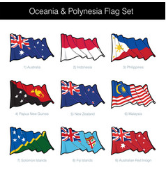 oceania and polynesia waving flag set vector image