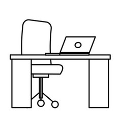 Office desk with laptop vector