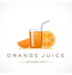 Orange juice design logo template and text vector