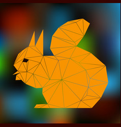 Orange squirrel abstract silhouette of triangles vector