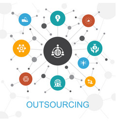 outsourcing trendy web concept with icons vector image