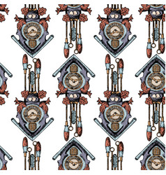 pattern with old cuckoo clock vector image
