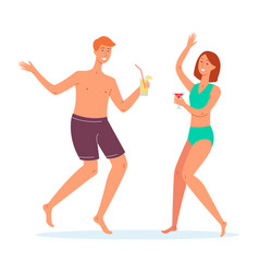 people in swimming clothes dance with cocktails vector image