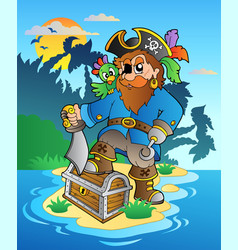 Pirate standing on chest on island vector
