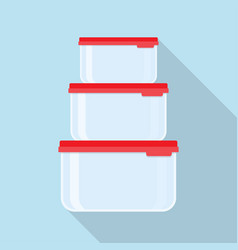 plastic food containers with red lid vector image