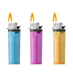 plastic lighter set tool for habit smoker vector image