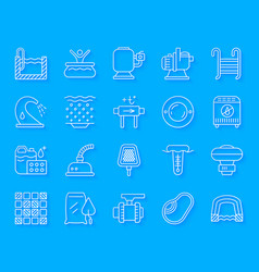 Pool equipment simple paper cut icons set vector