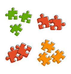 puzzle icon set color outline style vector image