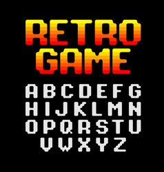 Retro pixel video game font vector