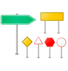 Road sign set traffic blank sign vector