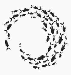 School of fish a group of silhouette fish swim in vector