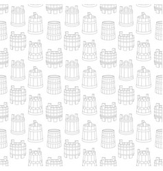 Seamless line art pattern with wooden tub vector