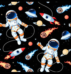 Seamless pattern with astronaut and rocket vector
