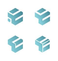 set abstract letter e 3d box logo vector image