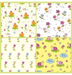 Set doodle easter seamless patterns vector