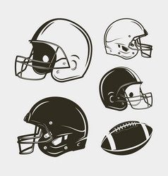 Set of american football equipment and gear vector